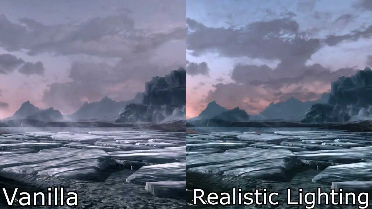 skyrim mods realistic lighting timelapse comparison youtube