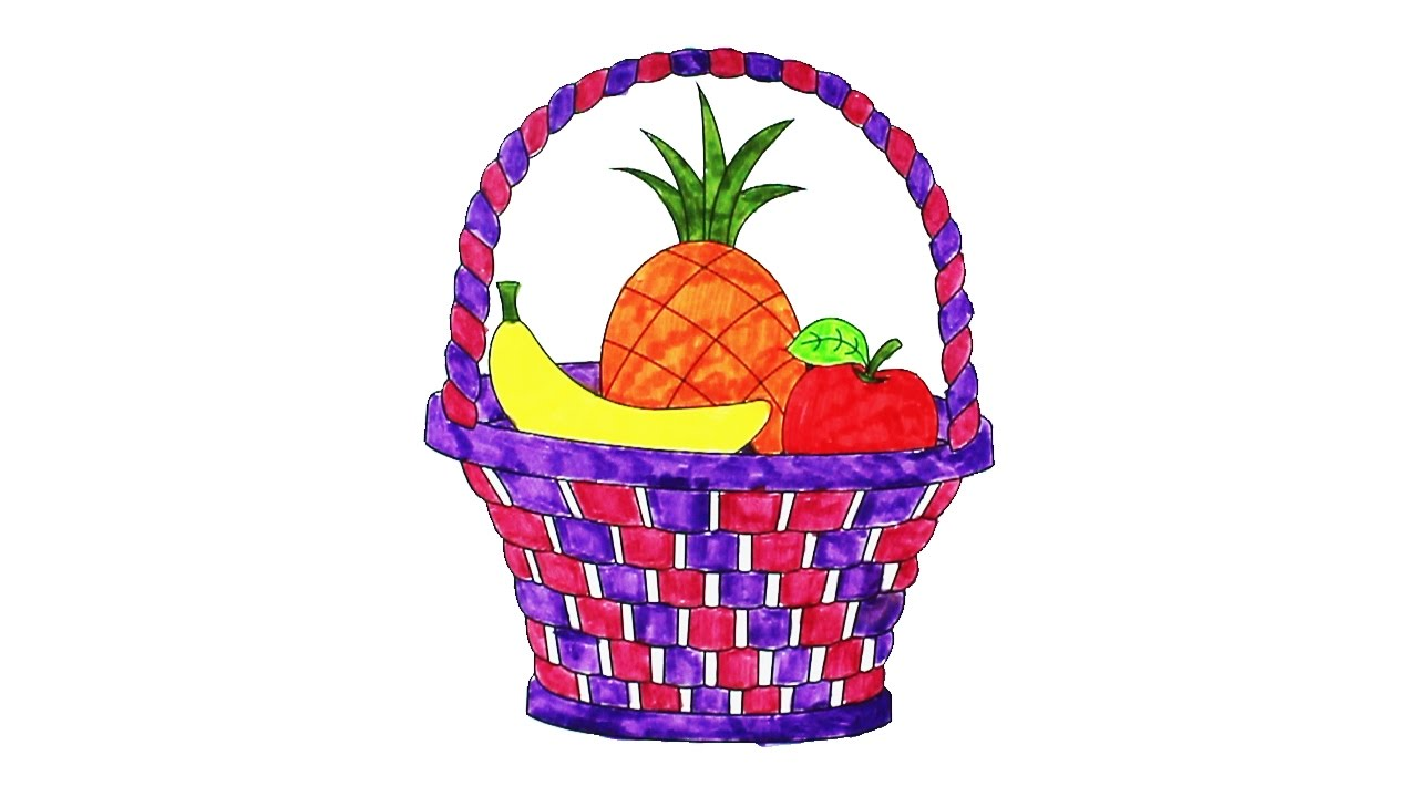Coloring Fruit Basket With Colorful Fruits