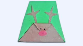 How to make a Christmas Card-simple reindeer christmas craft for kids