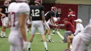 Alabama Quarterback Jake Coker Throws at Practice 4/6/15