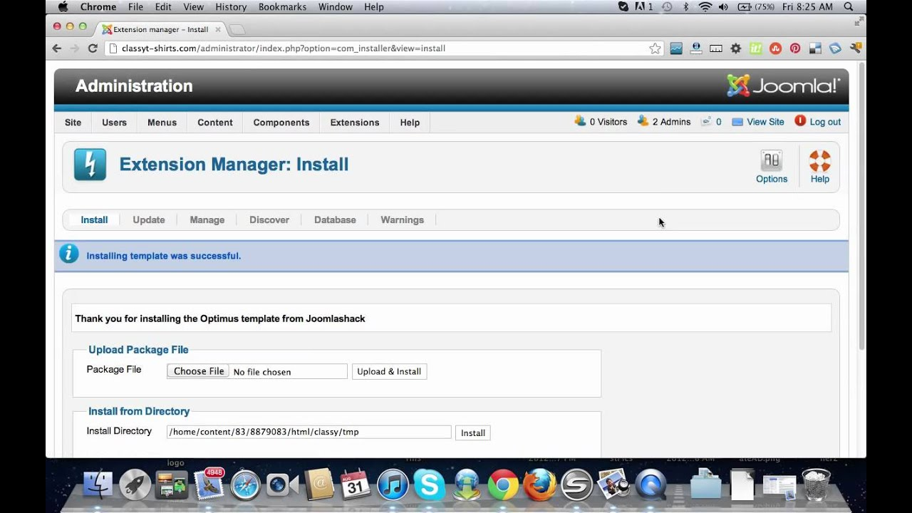 how to upload a template in joomla - how to upload a template to joomla 2 5 youtube