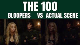 the 100   bloopers vs. actual scene