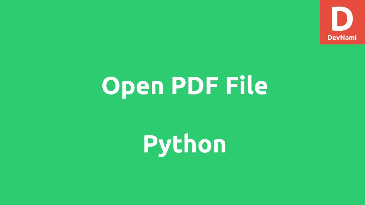 Python How to open PDF file from Hard Disk