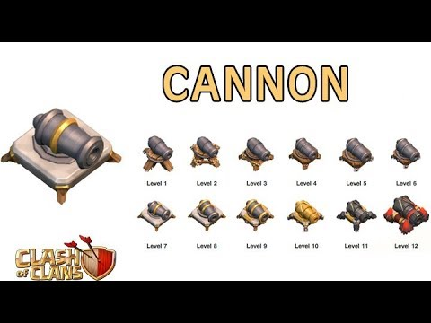 Clash Of Clan Level 1 Canon To Level 15 Canon