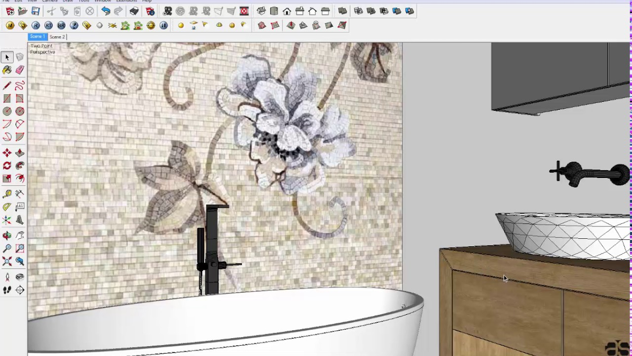 Rendering Interior Bathroom With Vray Sketchup Youtube