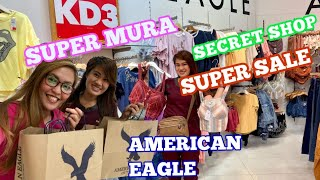 AMERICAN EAGLE SUPER SALE. SECRET SHOP. TRY ON SA FITTING ROOM. GRABE DAMI MURA