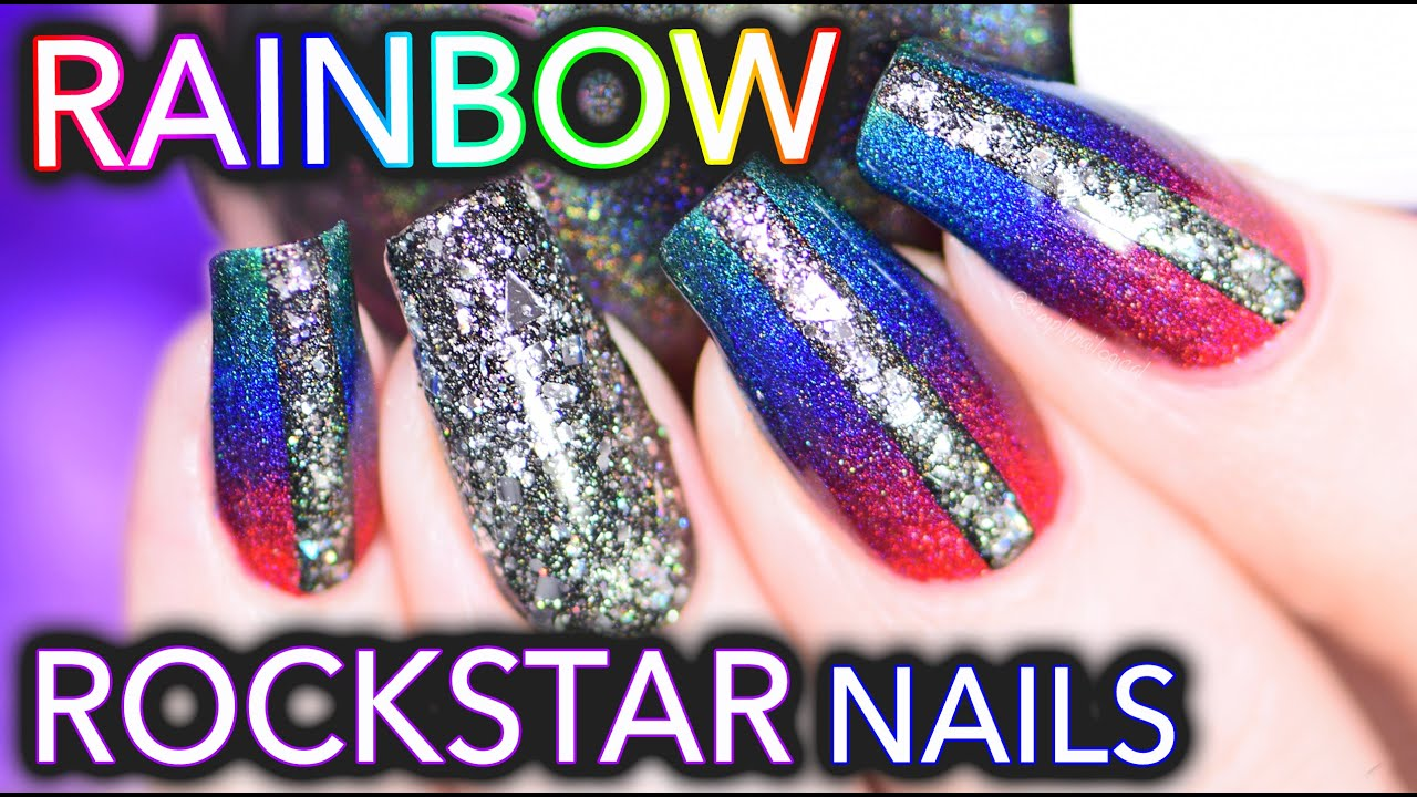 Rainbow Rockstar nails using SuperChic Lacquer holos! - YouTube