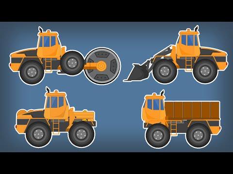 Transformer Bulldozer | Road Roller | Dumpster | Kids Video