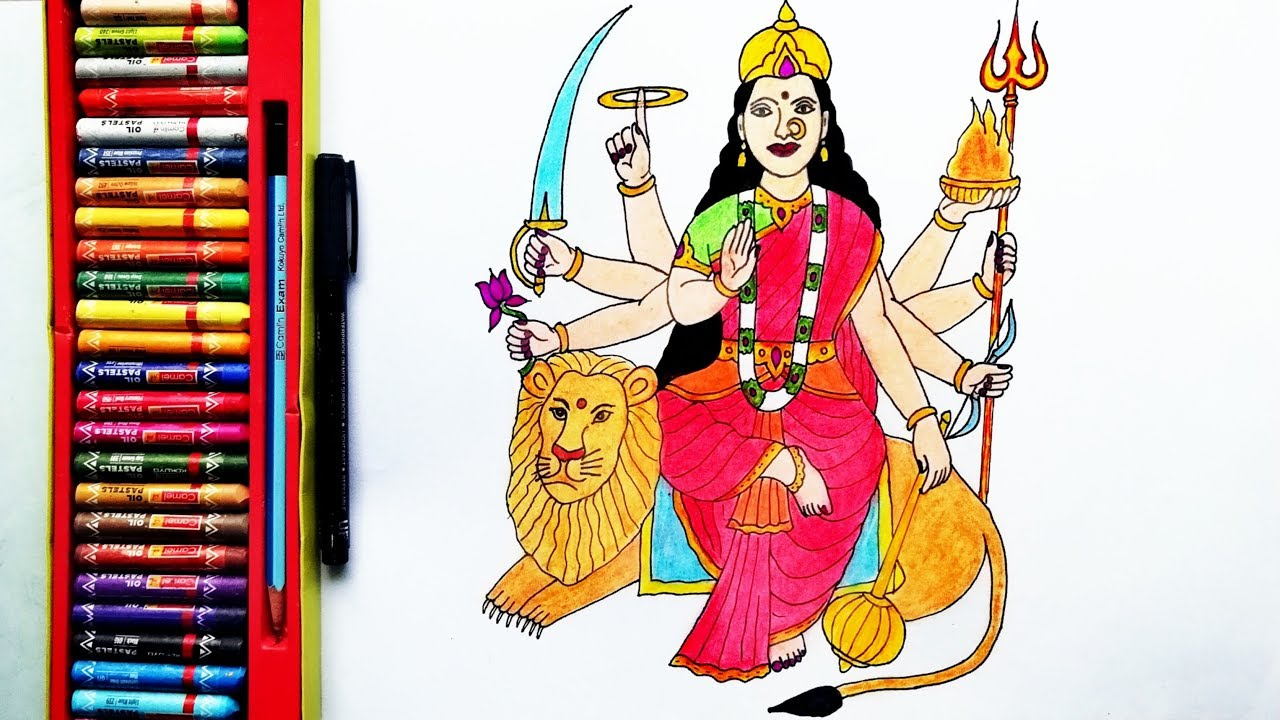 How To Draw Durga Mata Easily Durga Devi Drawing By Drawing Art Youtube