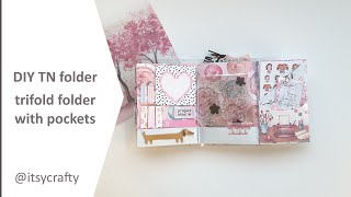 DIY TN folder   Trifold B6 planner folder with pockets   using Planners Anonymous Blossom kit