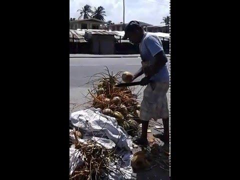 Guyana: Water-Coconut at Mon Repos Market