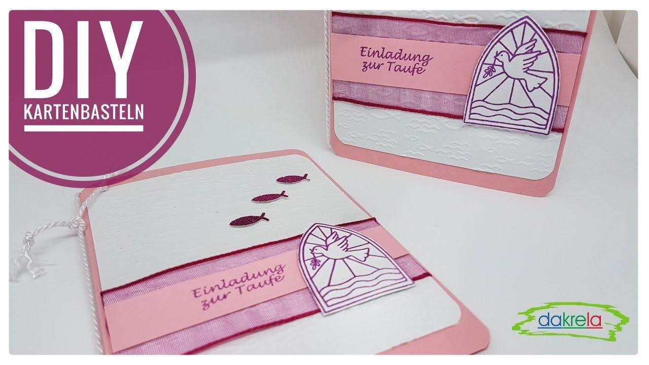 Rosa Einladung Zur Taufe Kommunion Konfirmation Kartenbasteln Cardmaking Deutsch