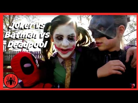 Little Heroes Joker vs Joker vs Batman vs Deadpool Superheros in Real Life Battle   SuperHero Kids