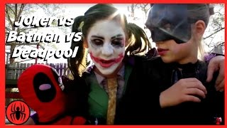 Little Heroes Joker vs Joker vs Batman vs Deadpool Superheros in Real Life Battle | SuperHero Kids