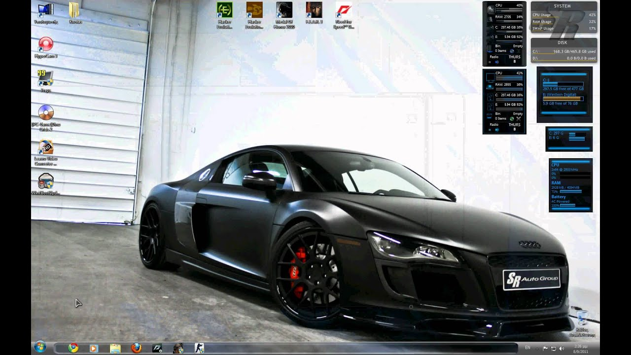 audi r8 windows 7 custom theme youtube. Black Bedroom Furniture Sets. Home Design Ideas