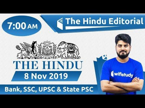 7:00 AM - The Hindu Editorial Analysis By Vishal Sir   8 Nov 2019   Bank, SSC, UPSC & State PSC