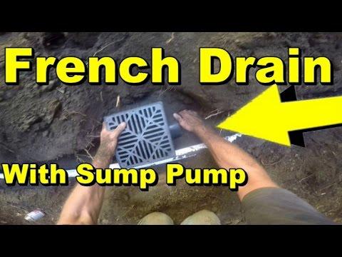 Yard Drain French Drain With Backyard Sump Pump Youtube