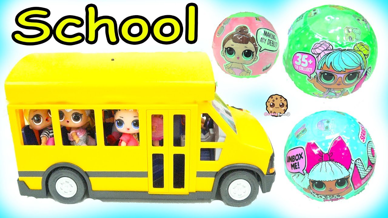 99d920063c9 LOL Surprise Ride Bus + Go To School - Lil Sisters Baby Dolls Blind ...
