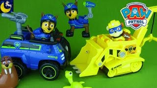 Paw Patrol Toys Unboxing Chase's Spy Cruiser Super Rubble's Diggin Bulldozer & Action Spy Chase Toys