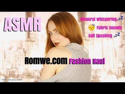 ASMR - Close Binaural Whispering with Fabric Sounds! Romwe.com Haul!