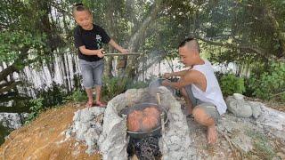 Tôm Hấp Nước Dừa - Pha Ăn Mù Tạt Không Nhịn Được Cười Với Mao Đệ Đệ