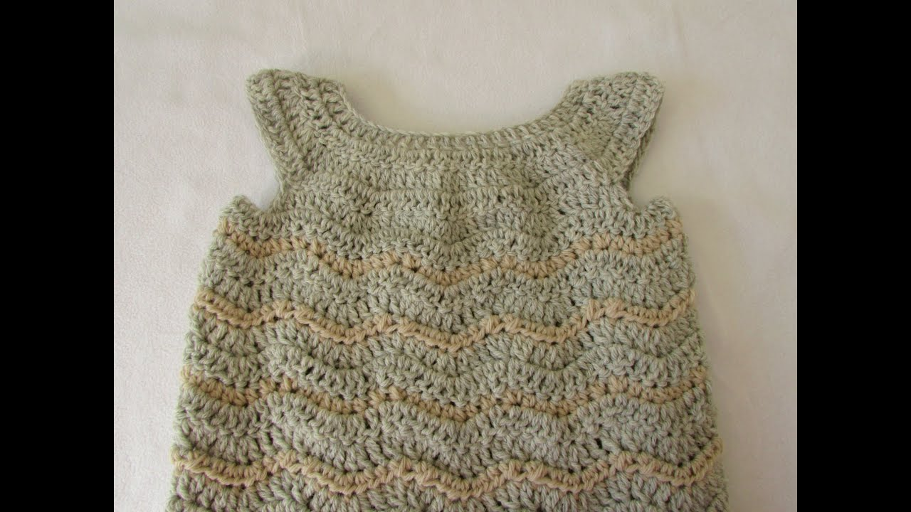 How to crochet a baby / girl\'s chevron dress tutorial - YouTube