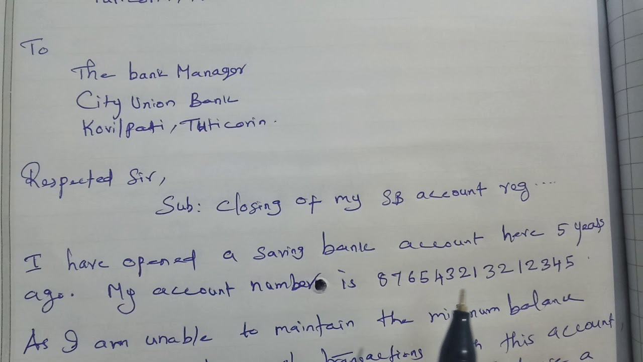 Sample Letter To Bank Manager To Close Your Bank Account Youtube
