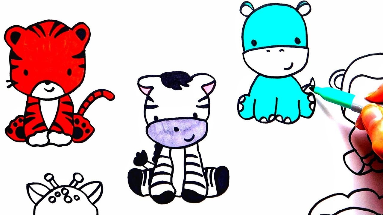 Simple Drawing Zoo Cute Animals