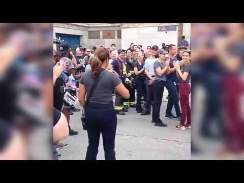 Chicago fire cast singing Happy Birthday to Monica Raymund