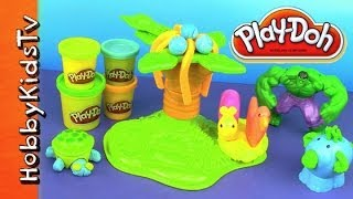 PLAY-DOH Jungle Animals, HULK -Coconut Tree, Monkeys, Turtle - Box Open, Toy Review, Play