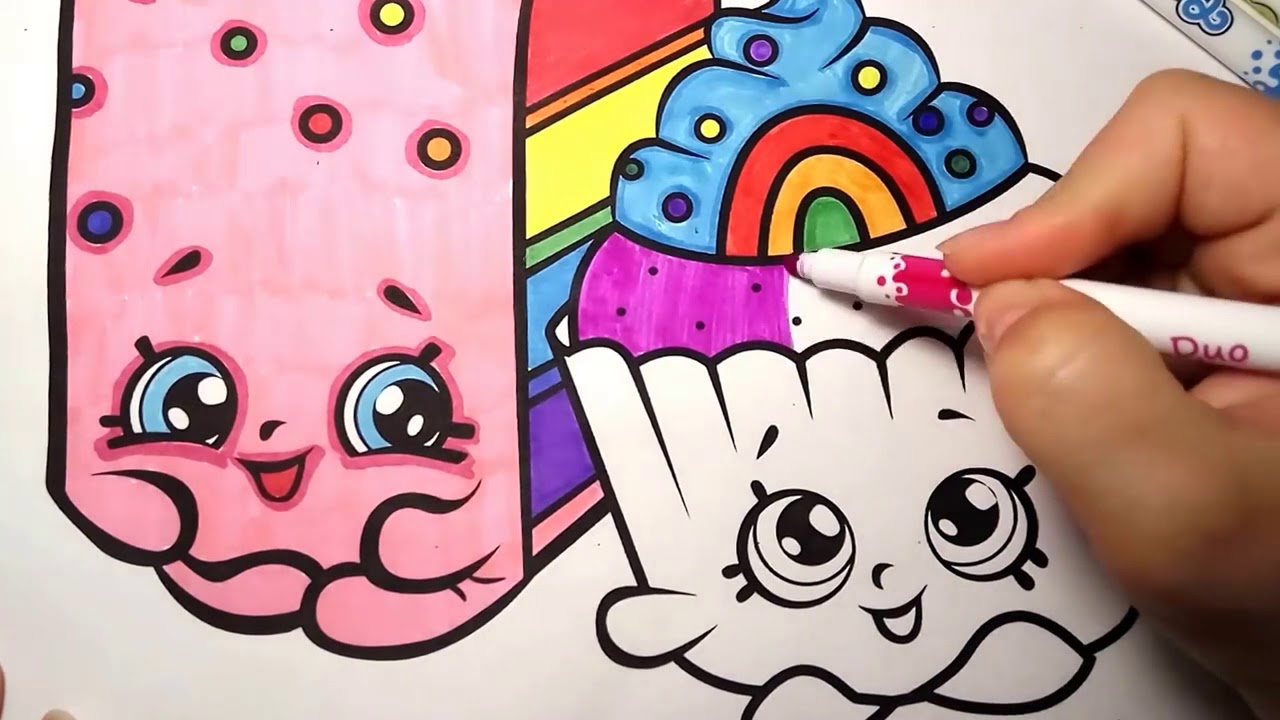 Shopkins Coloring Page Video For Kids Learn Rainbow Colors With