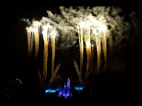 2017 Disneyland Believe in Holiday Magic Firework show complete. Snow on Main Street