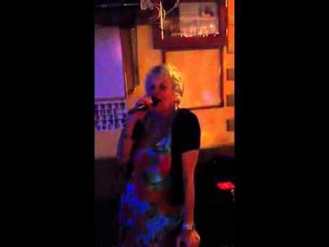 Mercia on karaoke in Lanzarote