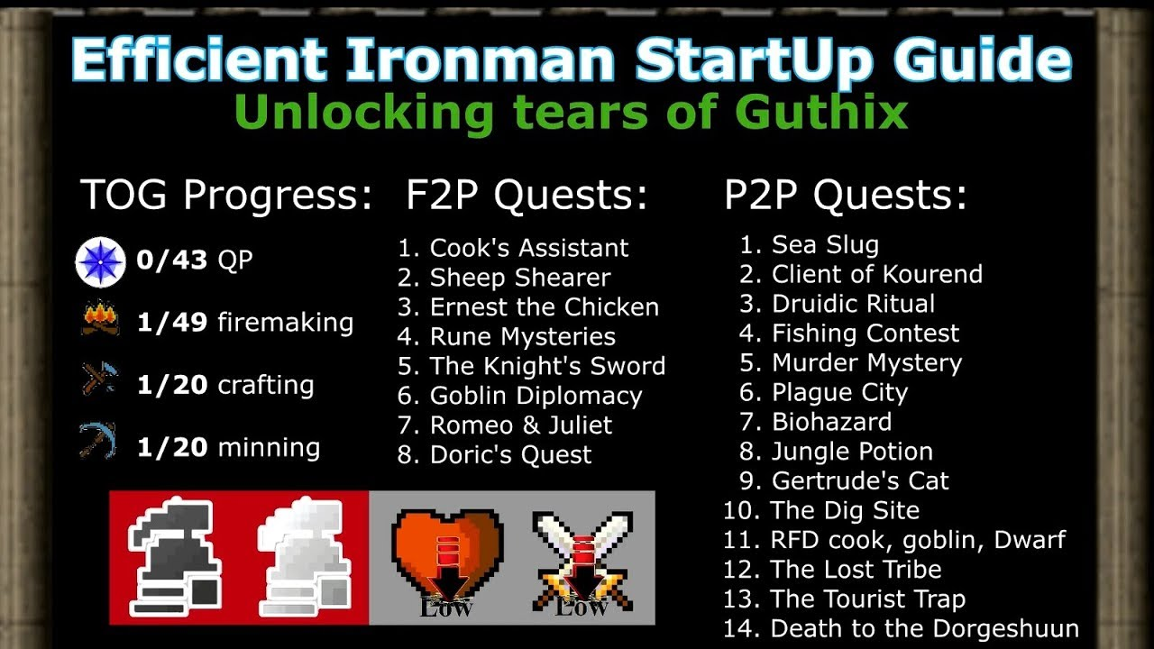 [OSRS] Efficient Ironman & UIM Start Up Guide (Path to TOG 1 l 9)