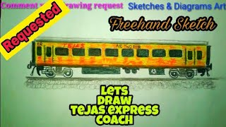 Lets Draw Tejas Express Coach || Indian Railways || Sketches & Diagrams Art ||