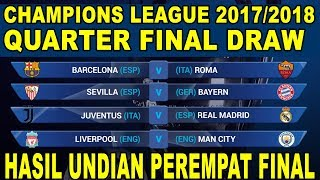 Champions League Quarter Final Draw RESULT 2018