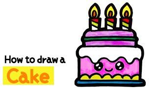 귀여운 딸기 케이크 그리기_Cute birthday c…