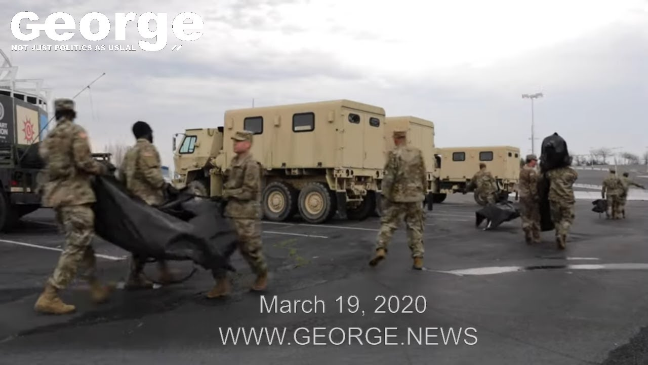 Maryland Army National Guard sets up Deployable Rapid Assembly Shelters, FEDEX FIELD, March 20, 2020