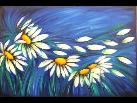 Como pintar con acrilicos cuadro de margaritas claudia kunze youtube - Ideas para pintar cuadros ...