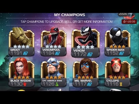 Upgrading 25 4-Star Heroes and Level Up Event Rank   Marvel Contest of Champions