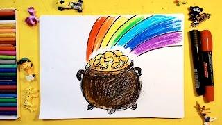 Как нарисовать ГОРШОК с ЗОЛОТОМ и РАДУГУ / Урок рисования для детей от 3 лет(Хочу нарисовать старинный горшочек с золотом, какие бывают у Гоблинов или Липриконов или Гномов. Простые..., 2016-07-28T06:00:02.000Z)