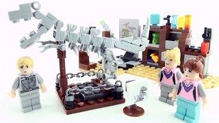 Tyrannosaurus Rex Skeleton Museum Lab - Lego compatible dinosaur bricks - Stop motion dino build