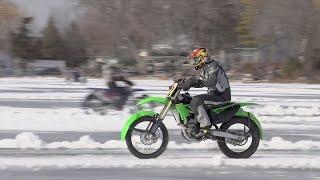 Ice Ninja! Kawasaki KX250F Ice Racing   ON TWO WHEELS