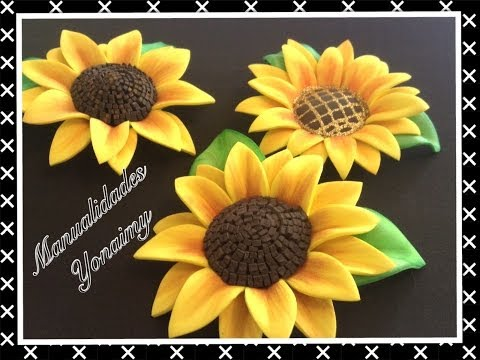 GIRASOLES HECHOS CON FOAMY O GOMA EVA - YouTube