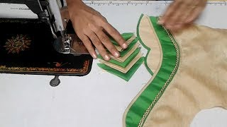 simple and beautiful designer blouse cutting and stitching