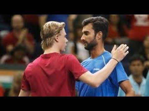Shapovalov vs Bhambri 2017 Davis Cup First set tiebreak (Full)