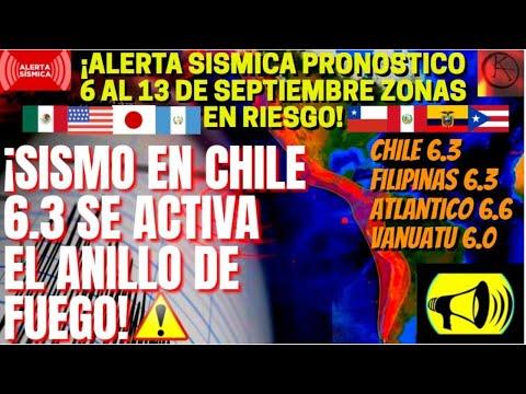 ¡🚨ALERTA SÍSMICA TERREMOTO 6,3 EN CHILE Y VIENE MAS !¡LUGARES EN RIESGO SISMOS 6 AL 13 D SEPTIEMBRE!