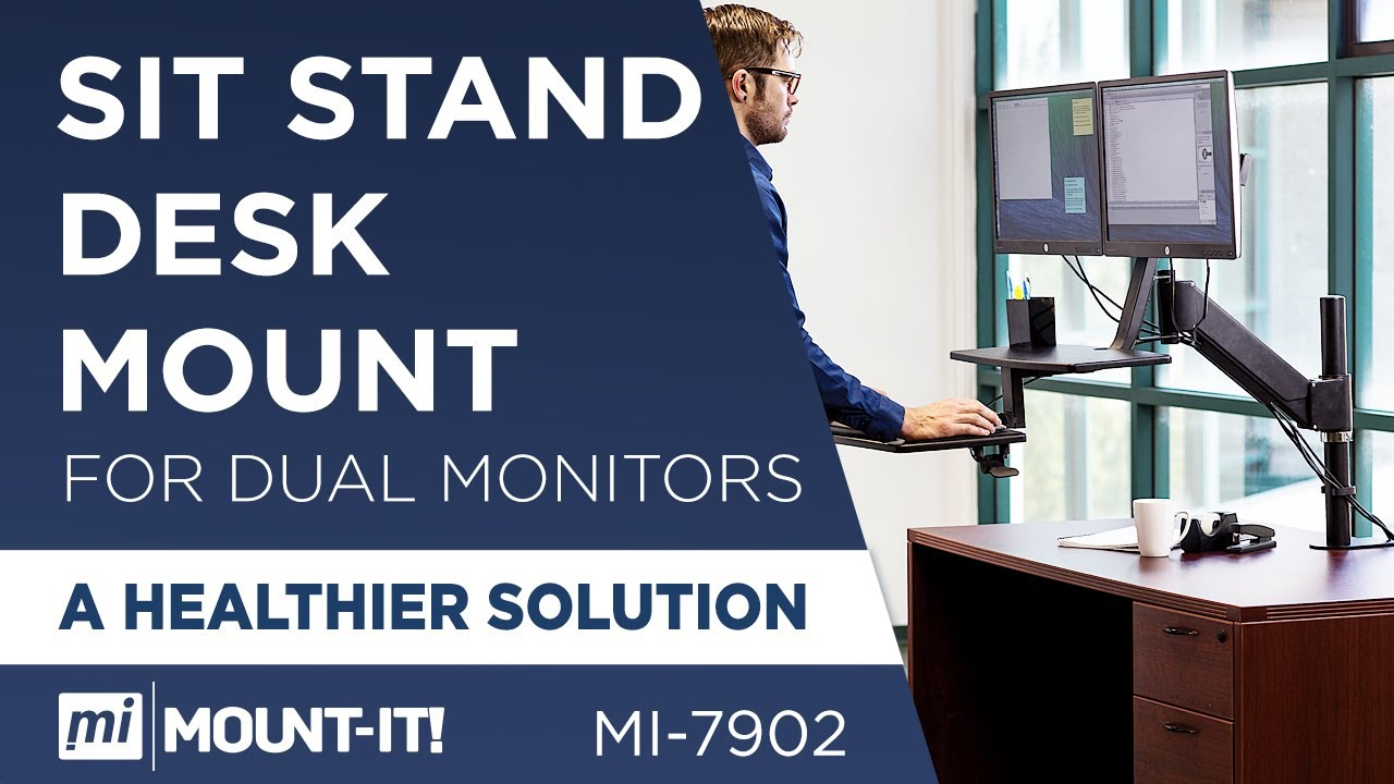 Mount It Mi 7902 Sit Stand Desk For Dual Monitors Up To 27 Inches In Size Color Black You