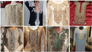latest hand embroidery neck design beautiful girls ke liey beautiful new neck designing ideas,