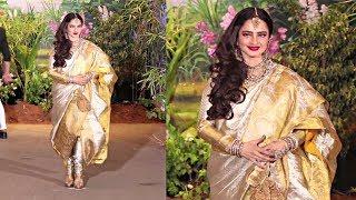 Rekha Looks Beautiful In Pant -Saree At Sonam Kapoor Wedding Reception